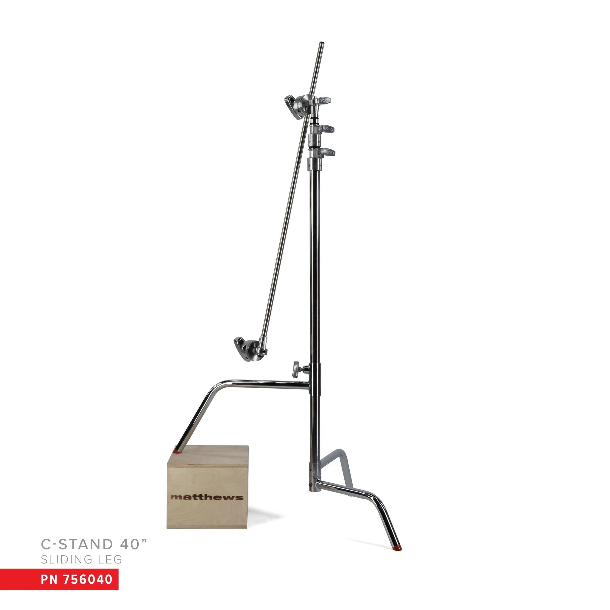 40″ C-STAND W/SLIDING LEG, INCLUDES GRIP HEAD & ARM