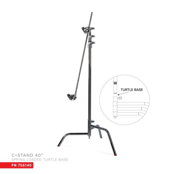 """40"""" c-stand w/ spring loaded turtle base, includes grip head and arm"""